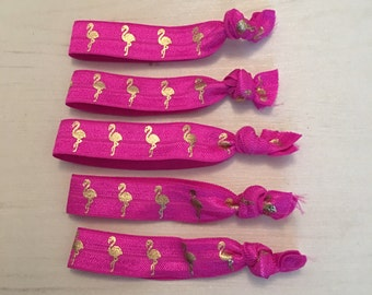 Hot pink flamingo hair ties / bracelets / party bag favours