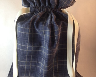 Classic Blue and Cream Plaid Gift Bag - Extra Large