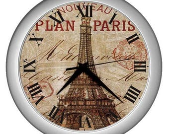Wall clock Paris vintage image Wall kitchen  decor Paris decor Eiffel tower decor