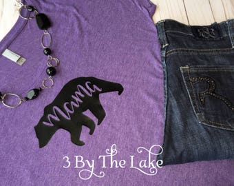 Mama Bear on a Loose Fit Scoop Neck Women's T shirt in either Purple or Vintage Black