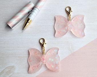 Resin sequin bow planner/TN/purse dangle charm clip