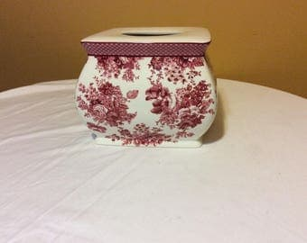 Vintage Maroon/Pink and White Porcelain Tissue Cover