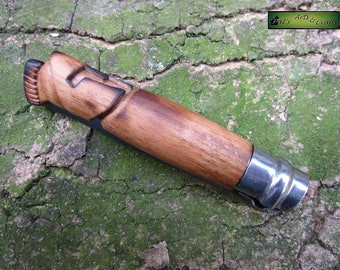 "Modified/custom pocket knife / folding knife. Handcarved wooden handle. ""The spartan"""