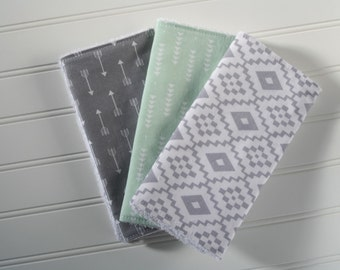 Burp Cloths | Set of 3 | Arrows | Aztec | Southwest | Gender Neutral Burp Cloths | Burp Rags | Grey and Mint Burp Cloths | Ready to Ship