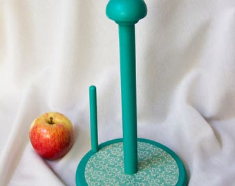 Turquoise Wooden Paper Towel Holder - Hand Painted & Decoupaged - Upcycled