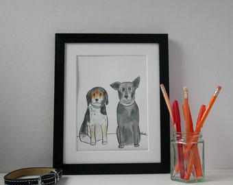 "Custom Pet Portrait, Dog Illustration, Quirky Pet Portrait, Dog Art, Custom Dog Portrait 10""x12"""