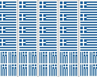 40 Removable Stickers: Greek Flag, Greece Party Favors, Decals