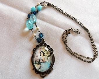 -Alice Liddell illustrated large medallion, handmade necklace