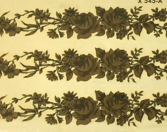 Vintage Meyercord Decals, Rose Swag Decals, Gold Rose Swag Decals