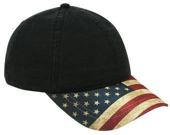 US American Flag Design Visor Cotton Twill 6 Panel Adjustable Baseball Cap Hat - Men and Women Patriotic Hat - One Size Fits All