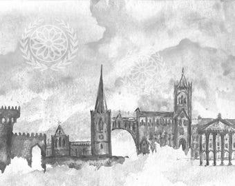 Dublin City Icons - Watercolor Painting - 5x7 Fine Art Print