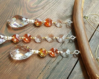 3 Strand Crystal Suncatcher with Orange accents