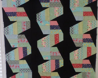 Fast Forward-Unfinished Quilt Top-Baby Quilt-Lap Quilt-Wall Hanging