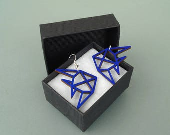 """Earrings wood and 925 Silver - """"Fish"""" - gold, silver, blue, yellow, green, raw"""