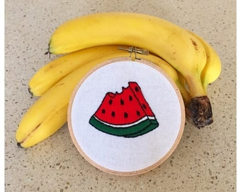 Watermelon embroidery in hoop