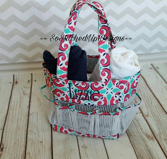 personalized shower caddy monogrammed shower tote. Black Bedroom Furniture Sets. Home Design Ideas
