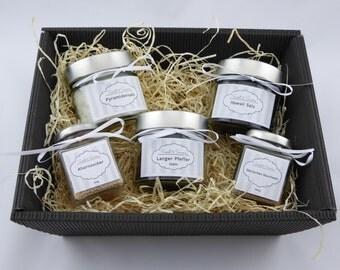 Gift set gift basket set with pyramid salt, Hawaiian salt, Danish smoked salt, long pepper, Maple sugar, ideal for him and her