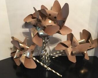 Pinwheels, Party Pinwheels, Paper Pinwheels, Pinwheel Decorations, Kraft & Gold Pinwheels, Polka-dot/Stripe Pinwheels, Pinwheel Cake Toppers