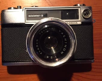 Rare Vintage Yashica Minister D 35mm Camera with Leather Protective Case and Strap -  circa 1964