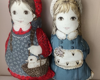 """Stuffed dolls girls pillows, hand made, vintage, 16"""" tall, pre-owned, good condition"""