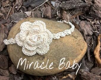 Ivory crochet headband, flower headband, baby girl headband, ivory flower