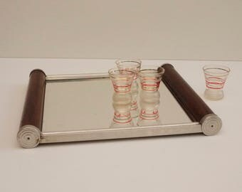 1950's Art Deco Mirrored Drink Tray, Mirror Serving Tray Square Classical french