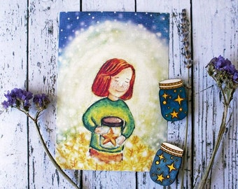 Girl with star postcard, card, jar with star illustration, cosmos print, universe