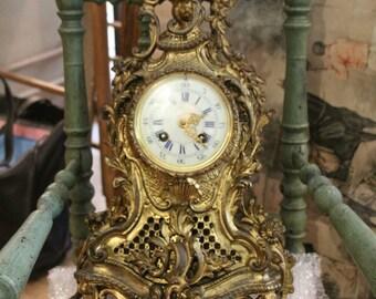 Bronze pendulum, antique bronze pendulum 19th century, bronze mantel clock, antique bronze mantel clock, antique fireplace bronze pendulum