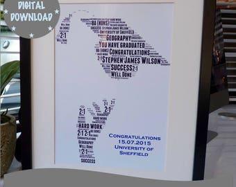 Personalised Printable Graduation print, Print Your Own Graduation Print, Printable Word Art Print, *DIGITAL DOWNLOAD ONLY*