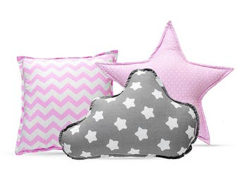 Pillow Set - Cozy Gray Stars Pink