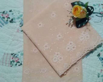 Vintage, Peach Eyelet (Standard) Pillow Cases with Scalloped Edges, Vintage Pillow Cases