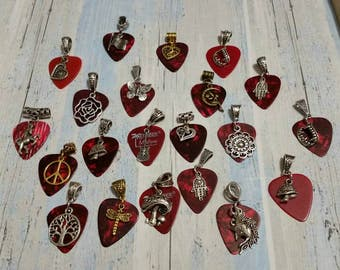 Guitar pick pendants in red with metal charms, fancy bail, and chain