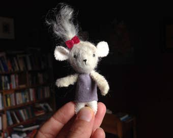 Miniature Mouse - Felted and Hand Sewn Wool Mouse - Artist Mouse with Curly Mohair