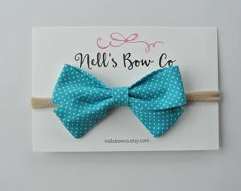 AQUA DOTS - Baby, Toddler, Girls, Fabric, Hair Bow, Headband, Hair Clip, Hair Accessories, Folded Hair Bow, Baby Shower Gift