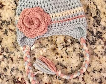 Baby girl crochet hat, baby girl flower hat, tuquoise & pink hat, toddler handmade hat, crochet winter hat, baby accessory, crochet braids