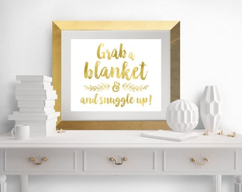 DIY PRINTABLE Gold Grab a Blanket Snuggle Up | Instant Download | Wedding Ceremony Reception | Gold Foil Calligraphy | Suite | wsg2
