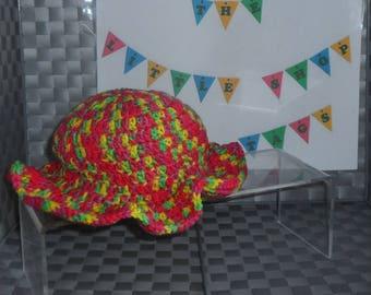 Sun Hat - Crocheted - Multi-Coloured - 0-3 Months