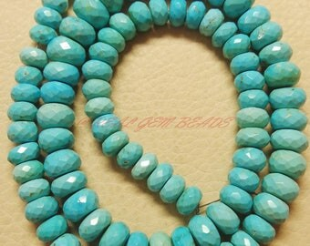8.50 Inches Strand, Natural Arizona Turquoise Rondelles, Turquoise Faceted Rondelle Beads, 7-10 MM, Sleeping Beauty Turquoise Beads