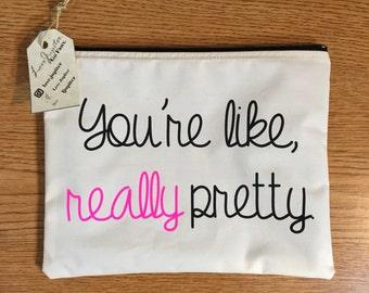 you're like, really pretty makeup bag, cosmetic bag, toiletry bag