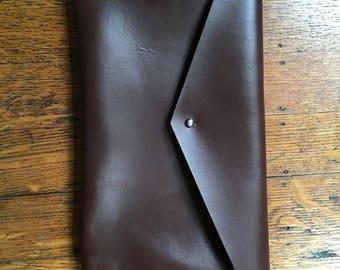 Handmade Horween leather envelope clutch purse