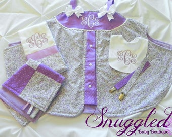Lilac Fields Gift Set, Carseat Tent, Lovey, Pacifier Clips, Monogrammed Bib and Burp Cloth