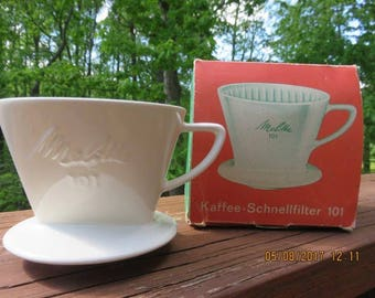 Vintage German White Porcelain Melitta Coffee Filter 101 Original Box
