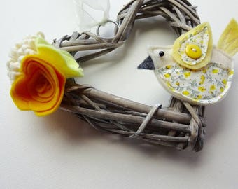 Flower wreath, yellow bird decoration, heart wreath, cottage style, yellow felt flowers, wedding gift, country style, hanging heart