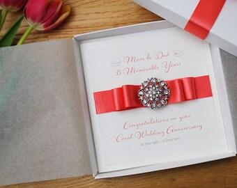 Luxury Coral Wedding Anniversary Card Handmade 35th Wedding Anniversary Card Boxed Card Personalised Wedding Anniversary Card