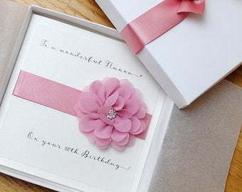Personalised Birthday Card - Mum - Friend - Sister - Niece - Nan - 18th 21st 30th 60th 70th 80th in Dusky Pink