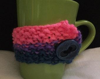 Bisexual/Bi Pride Mug Cozy Knitting Pattern Queer Pride