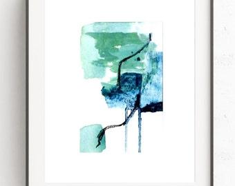 Green abstract print, blue abstract print, giclee print, abstract wall art, modern abstract art, contemporary art, home decor, wall decor