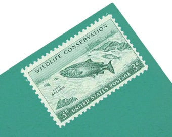Pack of 25 Unused King Salmon Stamps - 3c - Vintage from 1956 - Unused Postage - Quantity 25 - Wildlife Conservation