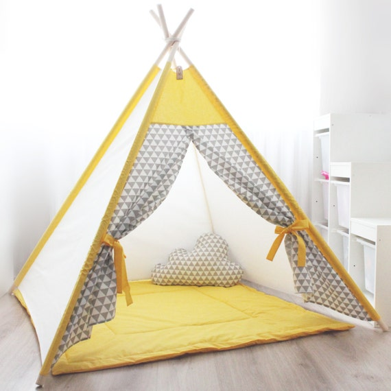les enfants tipi jaune gris jouer les enfants tente. Black Bedroom Furniture Sets. Home Design Ideas