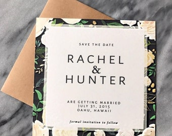 Save The Date Modern Floral Design (Navy)